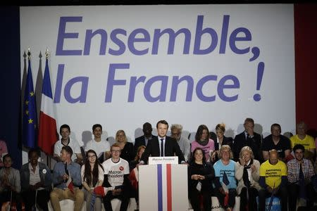 Emmanuel Macron, head of the political movement En Marche !, or Onwards !, and candidate for the 2017 presidential election, attends a campaign rally in Arras