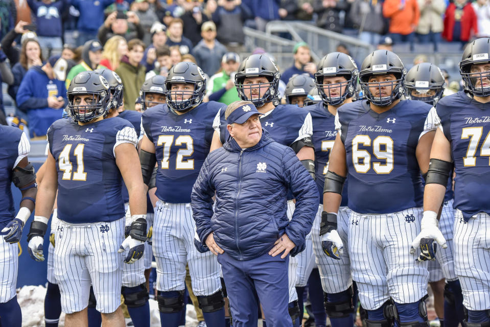 Brian Kelly's Irish are in the College Football Playoff despite consistently finishing outside the top 10 in recruiting. (Getty)