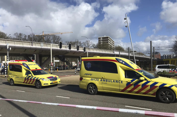 Emergency services attend the scene of a shooting in Utrecht, Netherlands, Monday March 18, 2019. (Photo: Peter Dejong/AP)