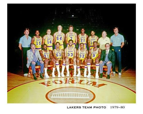 Spencer Haywood, second from left in the bottom row, sits next to owner Dr. Jerry Buss in a team photo of the 1979-80 Lakers.