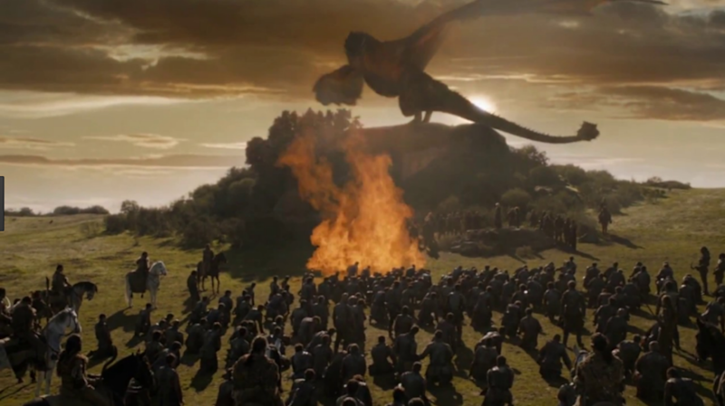 The moment Khaleesi's dragon killed Dickon. Source: HBO