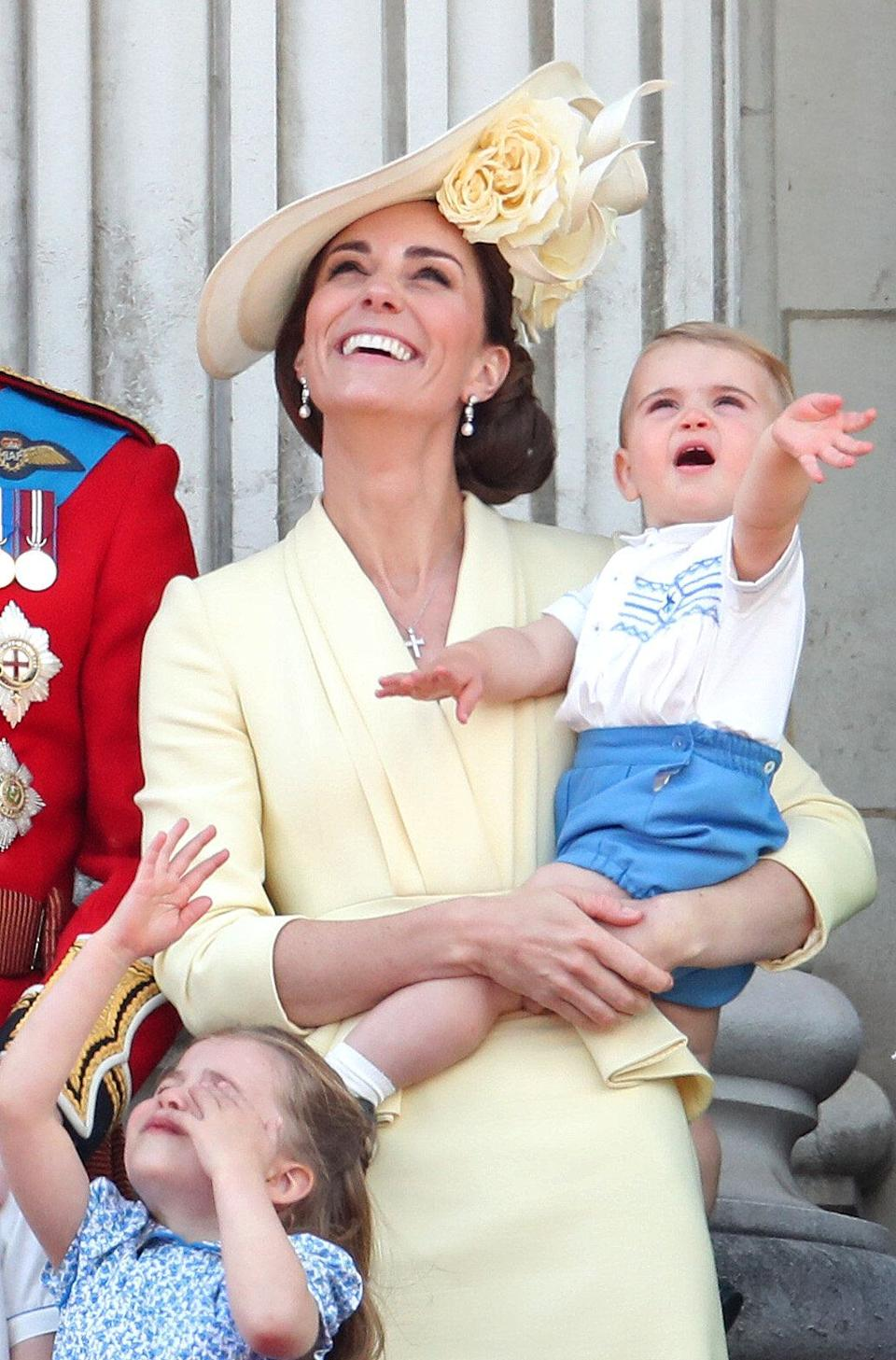 LONDON, ENGLAND - JUNE 08: Princess Charlotte, Catherine, Duchess of Cambridge and Prince Louis during Trooping The Colour, the Queen's annual birthday parade, on June 08, 2019 in London, England. (Photo by Chris Jackson/Getty Images)