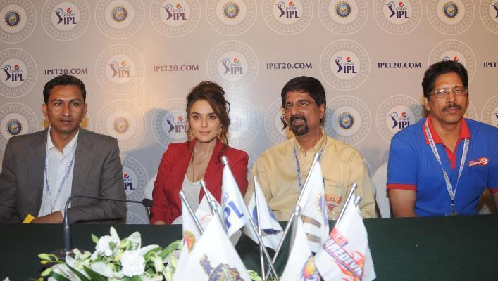 Krishnamacharya Srikanth of Chennai Super Kings, member of Delhi Daredevil`s team management Thirumalai Sekhar and actress Preity Zinta one of the owners at Kings XI Punjab during the two-day player auctions for the seventh edition of the Indian Premier League(IPL) in Bangalore on Feb.12, 2014. (Photo: IANS)