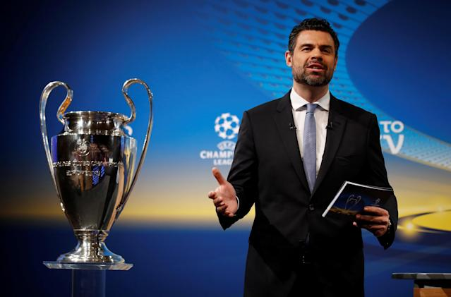 Soccer Football - Champions League Semi-Final Draw - Nyon, Switzerland - April 13, 2018 UEFA Chief of Press Pedro Pinto during the draw REUTERS/Stefan Wermuth