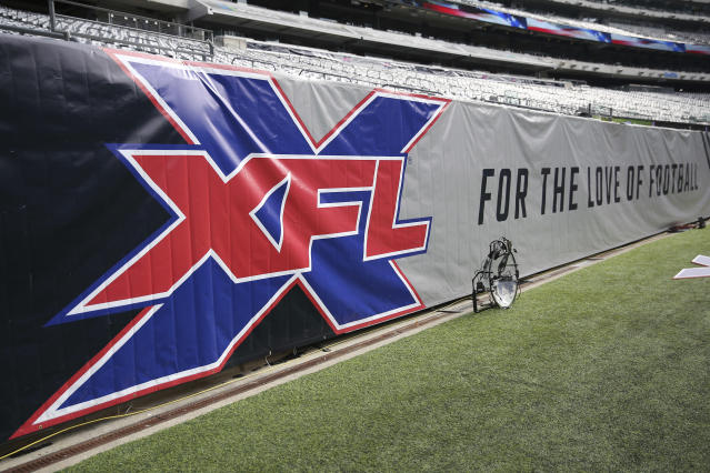 A general view of the XFL logo on a sideline banner before an XFL football game between the Tampa Bay Vipers and the New York Guardians, Sunday, Feb. 9, 2020, in East Rutherford, N.J. (AP Photo/Steve Luciano)