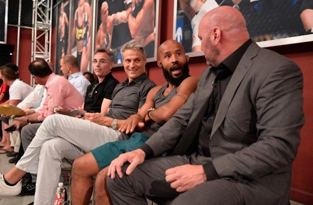 New UFC owner Ari Emanuel (third from right) and president Dana White (right) will attend the first UFC athlete retreat in May and will give a joint keynote address. (Getty)