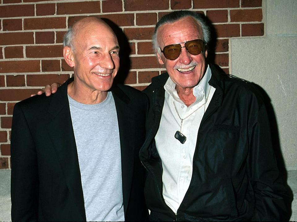 <p>The <i>Star Trek</i> alum – who portrayed Professor Charles Xavier in the film – poses with <i>X-Men</i> co-creator and former Marvel boss Stan Lee.<i> (Photo: Kevin Mazur/WireImage)</i></p>