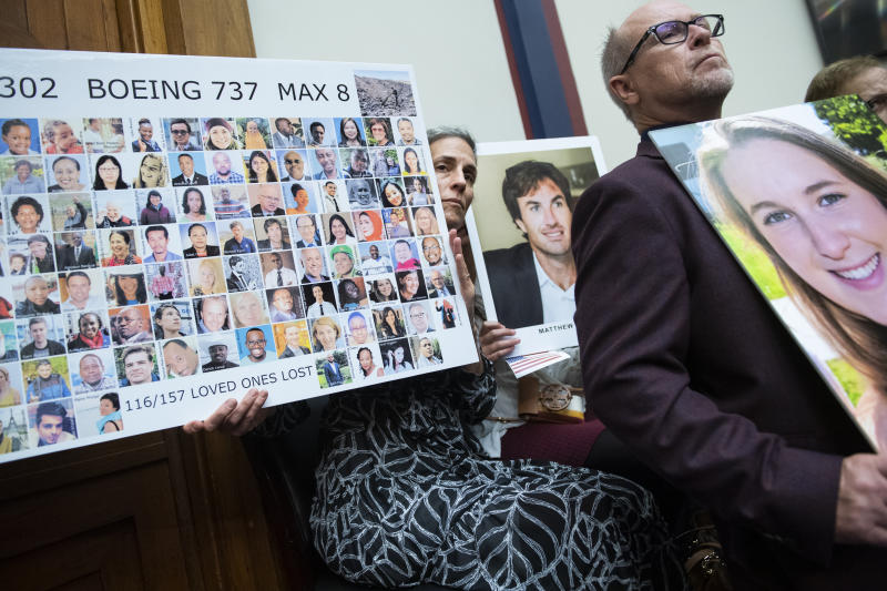 UNITED STATES - OCTOBER 30: Nadia Milleron, whose daughter Samya Stumo, was killed in the crash of Ethiopian Airlines Flight 302, holds a picture of Boeing 737 Max jet crash victims, during the House Transportation and Infrastructure Committee hearing examining the design, development, and marketing, of the Boeing 737 Max, in Rayburn Building on Wednesday, October 30, 2019. (Photo By Tom Williams/CQ-Roll Call, Inc via Getty Images)