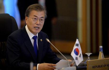 South Korea's President Moon Jae-In delivers a statement during the 19th Association of Southeast Asian Nations (ASEAN)-Republic of Korea Summit in Manila