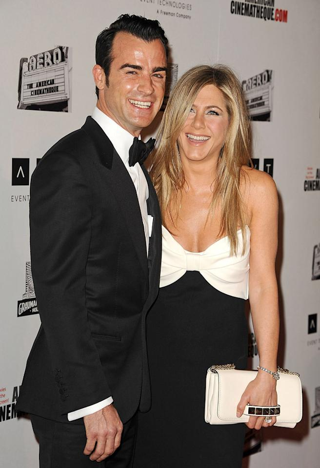 BEVERLY HILLS, CA - NOVEMBER 15:  Justin Theroux and Jennifer Aniston attend the American Cinematheque 26th annual award presentation at The Beverly Hilton Hotel on November 15, 2012 in Beverly Hills, California.  (Photo by Jason LaVeris/FilmMagic)
