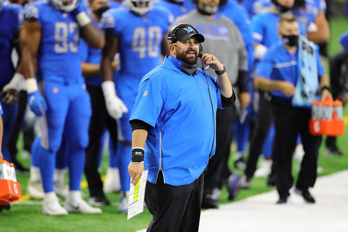 DETROIT, MI - SEPTEMBER 13: Detroit Lions head football coach Matt Patricia watches the action during the fourth quarter of the game against the Chicago Bears at Ford Field on September 13, 2020 in Detroit, Michigan. Chicago defeated Detroit 27-23. (Photo by Leon Halip/Getty Images)