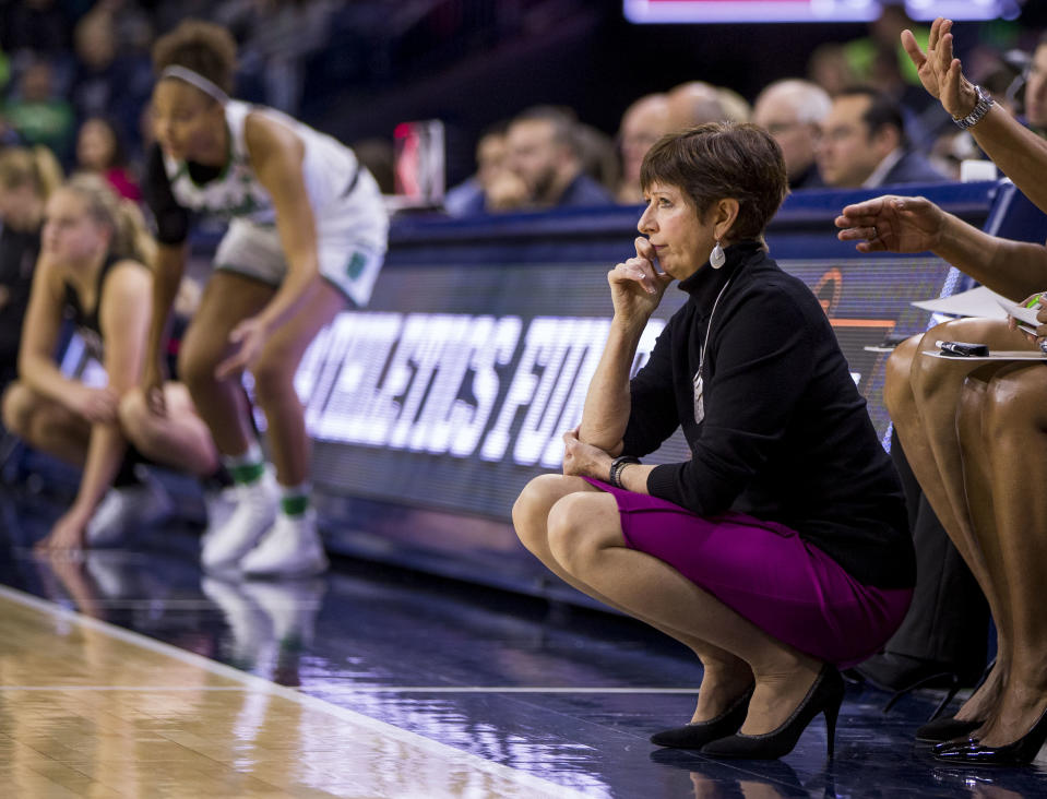 Muffet McGraw coached the Fighting Irish to nine Final Fours and two national championships. (AP Photo/Robert Franklin)
