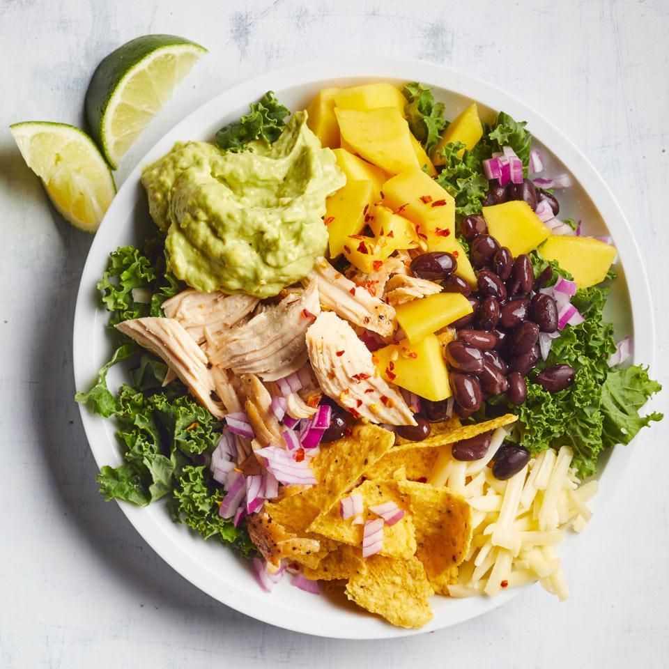 """<p>This healthy, super-fast salad recipe swaps out romaine for kale, giving you more than 10 times the vitamin C. Easy flavor hacks like store-bought ranch and pickled jalapeños help make a creamy, tangy and spicy dressing you'll want to drizzle on everything from salad to sliced veggies and shredded poached chicken. <a href=""""http://www.eatingwell.com/recipe/265716/chicken-kale-taco-salad-with-jalapeno-avocado-ranch/"""" rel=""""nofollow noopener"""" target=""""_blank"""" data-ylk=""""slk:View recipe"""" class=""""link rapid-noclick-resp""""> View recipe </a></p>"""