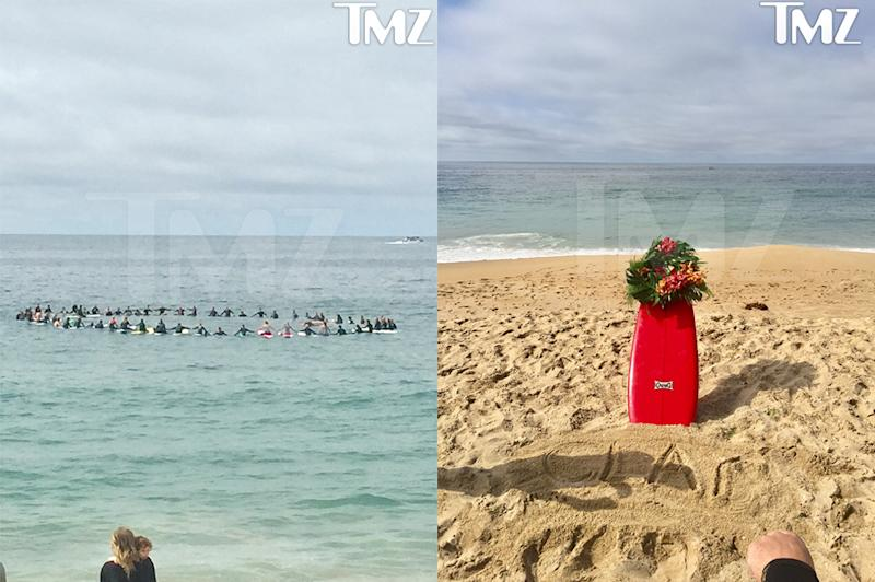 Clay's family and friends honored him with a paddle out in Newport Beach. (Photo: MTV)