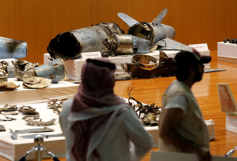 FILE - In this Sept. 18, 2019 file photo, the Saudi military displays what they say are an Iranian cruise missile and drones used in recent attacks on its oil industry at Saudi Aramco's facilities in Abqaiq and Khurais, during a press conference in Riyadh, Saudi Arabia. A small instrument that two reports say was found inside drones which targeted the heart of Saudi Arabia's oil industry and those in the arsenal of Yemen's Houthi rebels, matches components recovered in downed Iranian drones in Afghanistan and Iraq. Conflict Armament Research said in a report released on Wednesday, Feb. 19, 2020, that these gyroscopes within the drones have only been found inside those manufactured by Iran. (AP Photo/Amr Nabil, File)