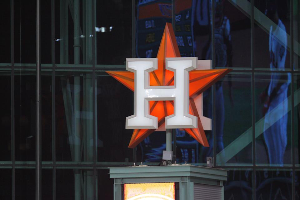 Oct 22, 2019; Houston, TX, USA; The Houston Astros logo is seen during the third inning of game one of the 2019 World Series against the Washington Nationals at Minute Maid Park. Mandatory Credit: Erik Williams-USA TODAY Sports