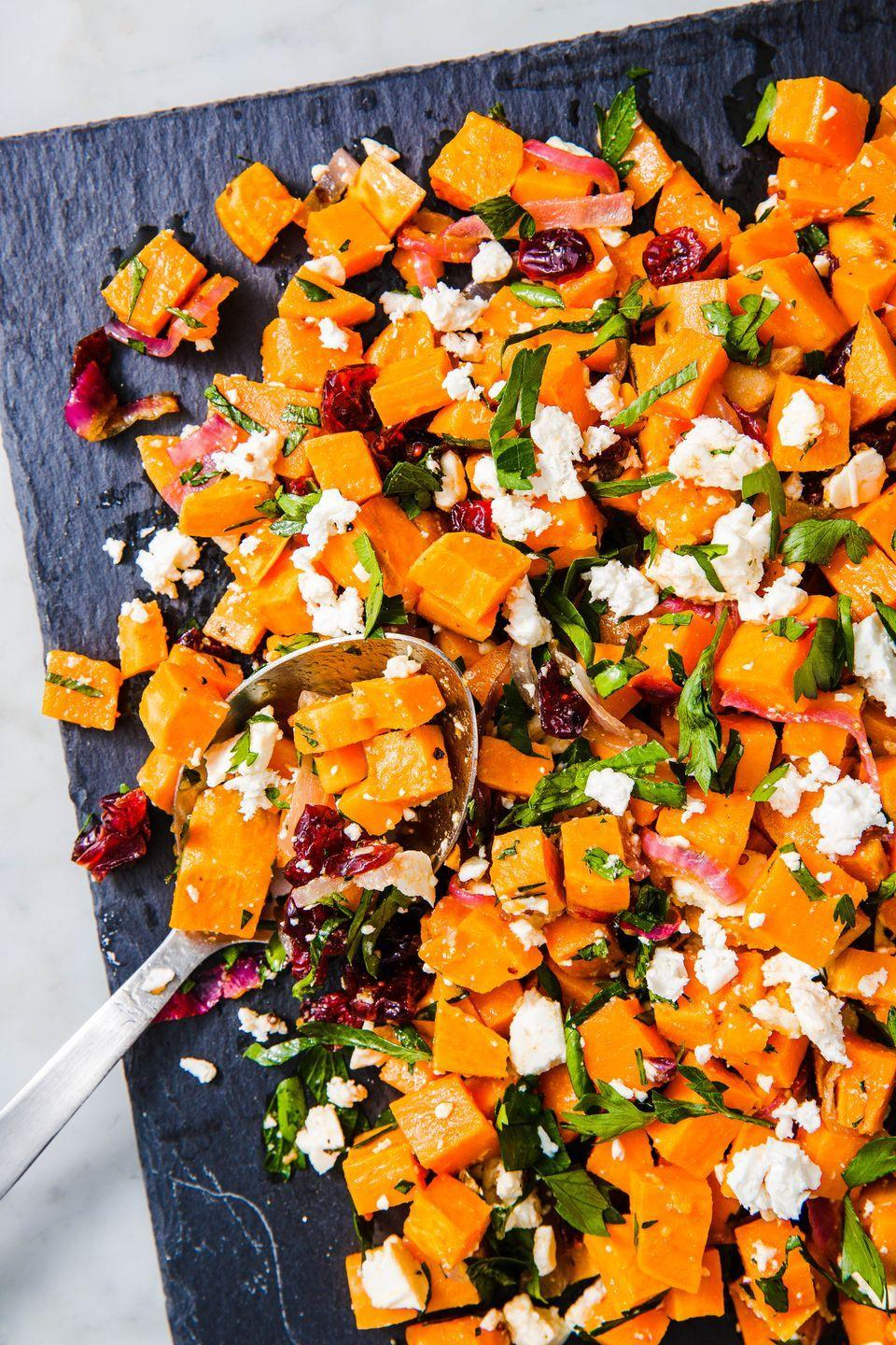 "<p>Try it with leafy greens, in a wrap, or topped with a fried egg. </p><p>Get the recipe from <a href=""https://www.delish.com/cooking/recipe-ideas/a23362341/sweet-potato-salad-recipe/"" rel=""nofollow noopener"" target=""_blank"" data-ylk=""slk:Delish"" class=""link rapid-noclick-resp"">Delish</a>. </p>"