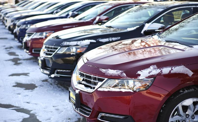 A line of Chevrolet autos made by General Motors are seen for sale at a dealer in Wheat Ridge