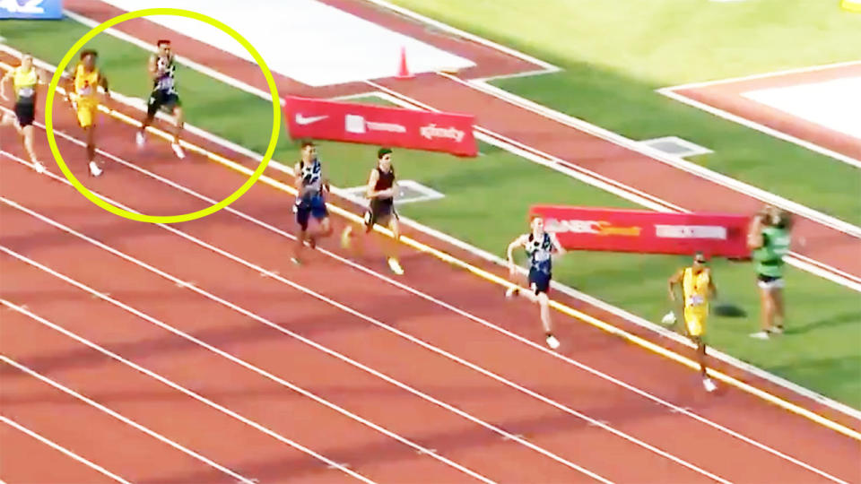 Donavan Brazier, pictured here finishing last in the 800m at the US Olympic trials.