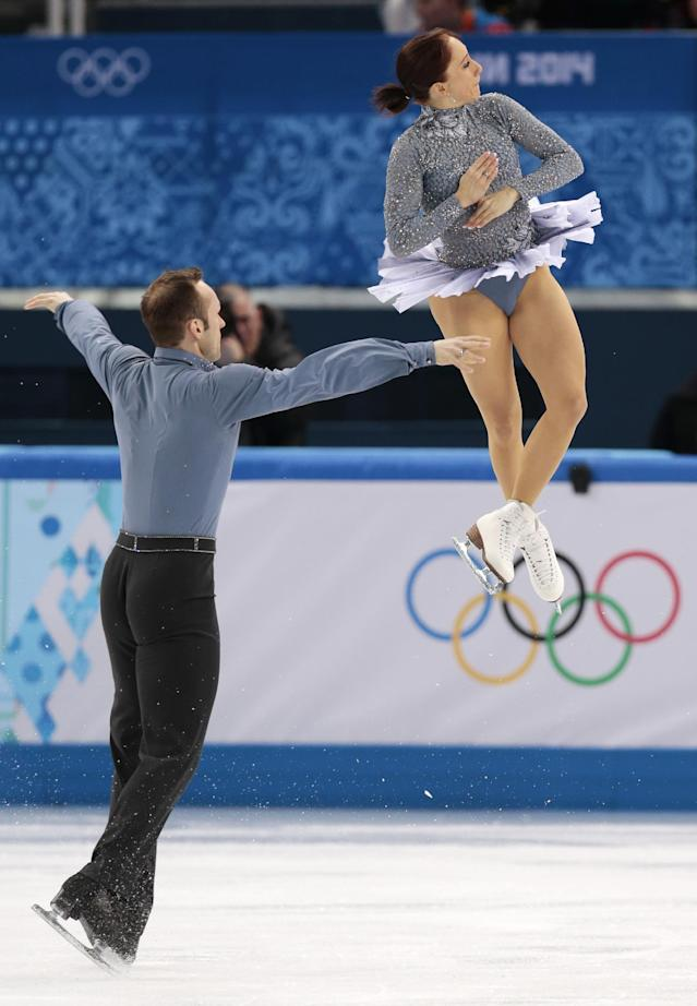 Maylin Wende and Daniel Wende of Germany compete in the team pairs short program figure skating competition at the Iceberg Skating Palace during the 2014 Winter Olympics, Thursday, Feb. 6, 2014, in Sochi, Russia