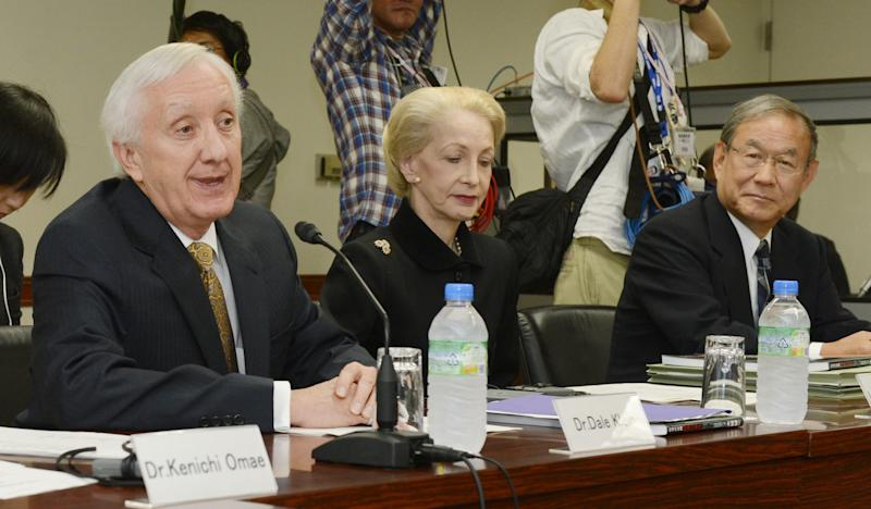 From left, former U.S. nuclear regulatory chief Dale Klein, former chairman of the UK Atomic Energy Authority, Barbara Judge, and former prosecutor Masafumi Sakurai, who also served as a member of Japan's Parliament's Fukushima Nuclear Accident Independent Investigation Commission, attend the first internal reform committee meeting held by Tokyo Electric Power Co. (TEPCO) at its headquarters in Tokyo Friday, Oct. 12, 2012. Dale's five-member committee oversees the task force's reform plans, which aim to use the lessons learned at TEPCO's Kashiwazaki-Kariwa plant in northern Japan. The cash-strapped utility wants to restart that plant, but TEPCO officials denied the reform plans are aimed at improving public image to gain support for the plant's resumption. (AP Photo/Kyodo News) JAPAN OUT, MANDATORY CREDIT, NO LICENSING IN CHINA, FRANCE, HONG KONG, JAPAN AND SOUTH KOREA