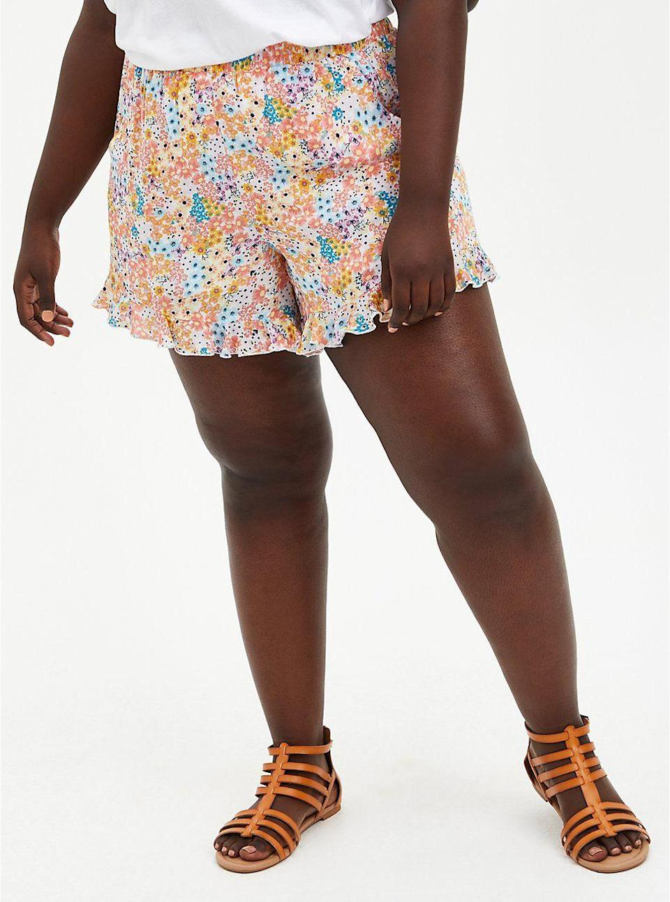"""<p>torrid.com</p><p><strong>$37.12</strong></p><p><a href=""""https://go.redirectingat.com?id=74968X1596630&url=https%3A%2F%2Fwww.torrid.com%2Fproduct%2Fcoral-floral-gauze-ruffle-hem-short%2F14684852.html&sref=https%3A%2F%2Fwww.thepioneerwoman.com%2Ffashion-style%2Fg37083925%2Fbest-plus-size-shorts%2F"""" rel=""""nofollow noopener"""" target=""""_blank"""" data-ylk=""""slk:Shop Now"""" class=""""link rapid-noclick-resp"""">Shop Now</a></p><p>These shorts are cute and comfortable! Their loose, breezy fit make them amazing for those hot summer days. Best part: They have pockets! </p>"""