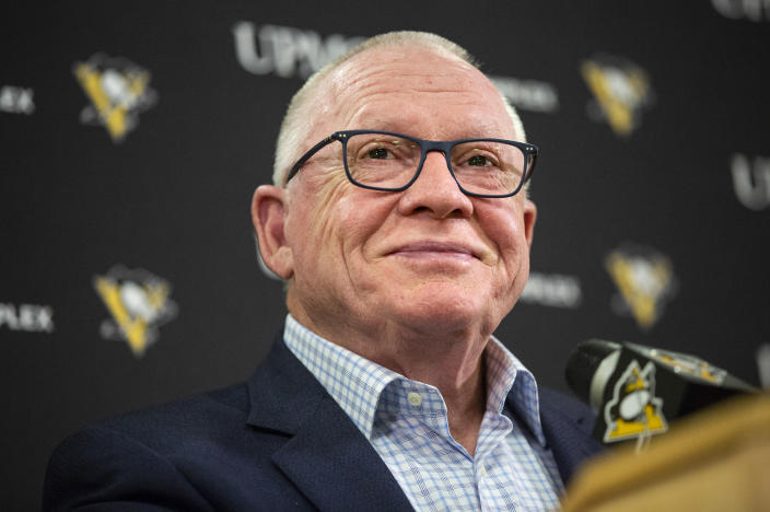 """Pittsburgh Penguins general manager Jim Rutherford smiles as he takes questions during a press conference at the UPMC Lemieux Sports Complex in Cranberry, Pa., in this Tuesday, June 25, 2019, photo. Rutherford, a Hockey Hall of Famer who helped lead the team to a pair of Stanley Cup titles, resigned abruptly on Wednesday, Jan. 27, 2021. The 71-year-old cited """"personal reasons"""" in making the decision. (Jessie Wardarski/Pittsburgh Post-Gazette via AP)"""
