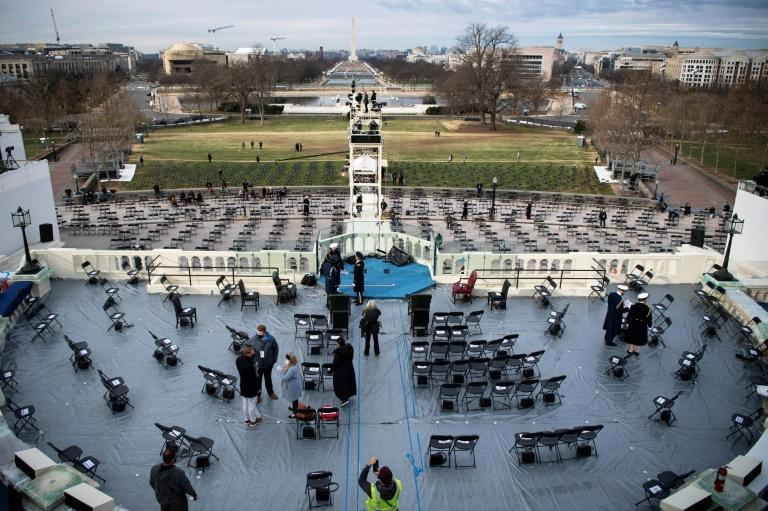 Final preparations are underway at the US Capitol for a socially distanced inauguration