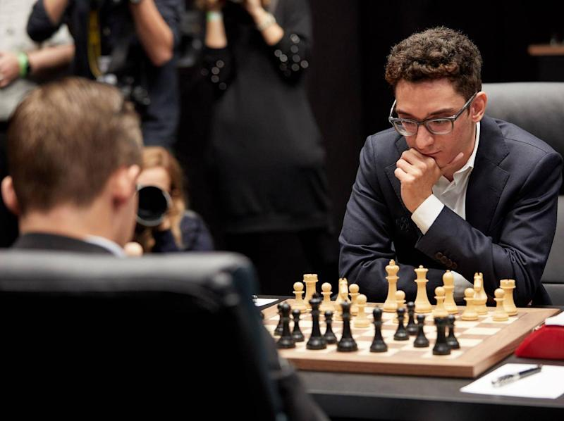 Fabiano Caruana locked in concentration (Getty for World Chess)