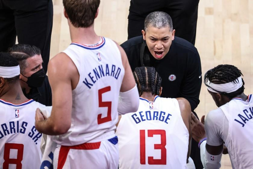 Tuesday, June 22, 2021, Phoenix, Arizona - Clippers head coach Tyronn Lue leads an animated huddles during a break in the action against the Phoenix Suns in Game two of the NBA Western Conference Finals at Phoenix Suns Arena. (Robert Gauthier/Los Angeles Times)