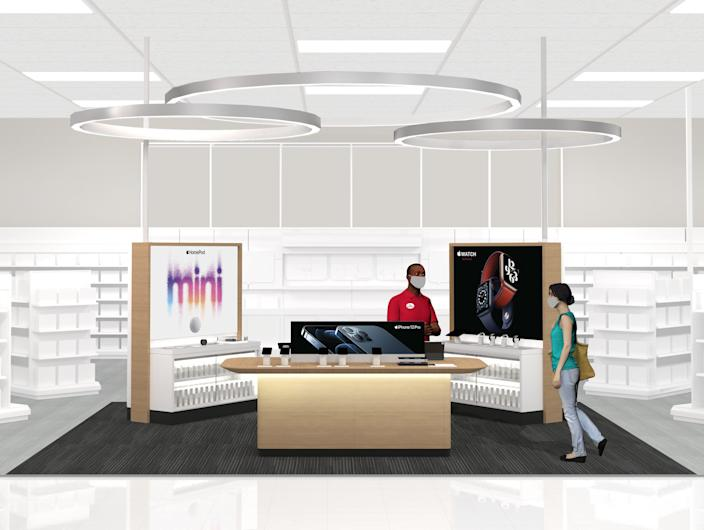 Rendering of what Target's new Apple shopping destinations look like.