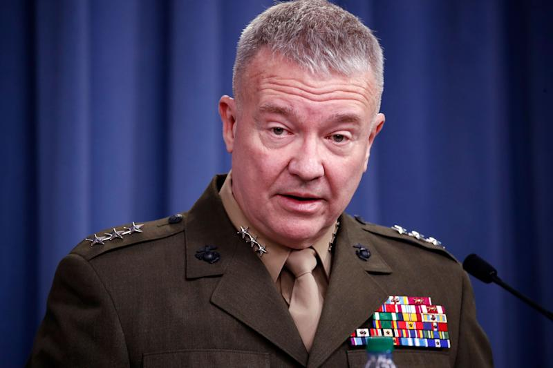 Marine Lt. Gen. Kenneth F. McKenzie Jr., director, Joint Staff, speaks during a media availability at the Pentagon, April 14, 2018, in Washington. (Photo: Alex Brandon/AP)