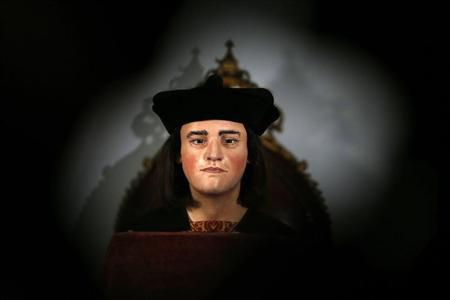 A facial reconstruction of King Richard III is displayed at a press conference to unveil the bust in central London