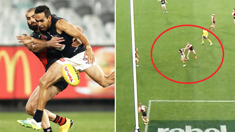 Eddie Betts (pictured left) being tackled questioned why he was penalised in the final stages of the clash between Essendon and Carlton. (Getty Images/Fox Sports)