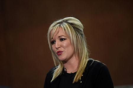 Newly elected Sinn Fein leader Michelle O'Neill speaks to media at the count centre in Ballymena, Northern Ireland March 3, 2017. REUTERS/Clodagh Kilcoyne