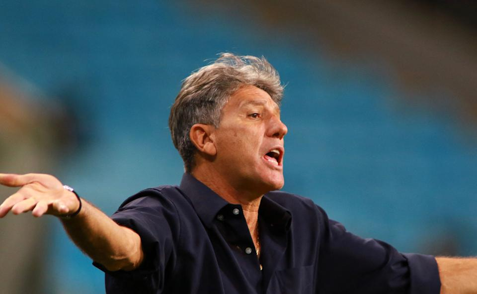 Brazil's Gremio coach Renato Gaucho gestures during the Copa Libertadores football tournament second round against Peru's Ayacucho FC, at the Arena do Gremio stadium in Porto Alegre, on March 10, 2021. (Photo by Silvio AVILA / POOL / AFP) (Photo by SILVIO AVILA/POOL/AFP via Getty Images)