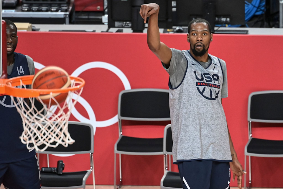 U.S. Olympic basketball player Kevin Durant shoots during practice session on Thursday.