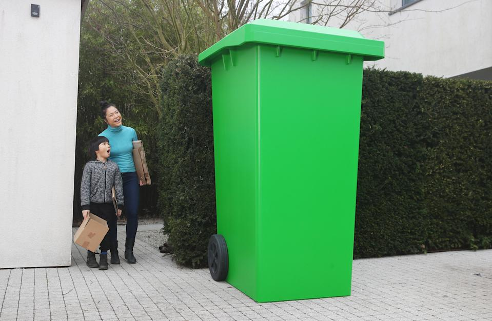 DS Smith have created a larger-than-life recycling bin to demonstrate the scale of changes needed to the UK's recycling infrastructure