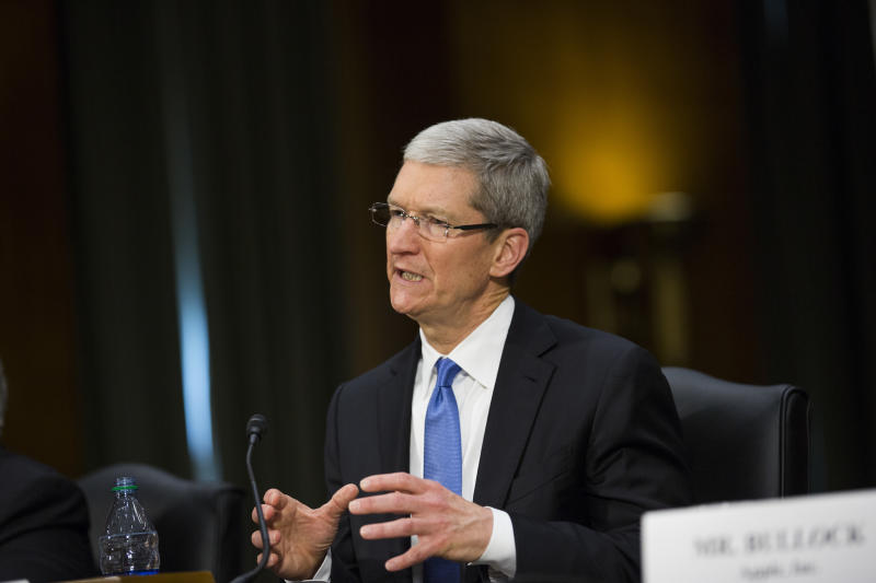 Apple CEO Tim Cook tesifies on Capitol Hill in Washington.