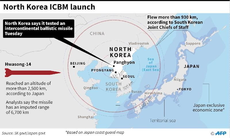 Updated map showing the site of a North Korean missile launch Tuesday, according to South Korean military. (AFP Photo/John SAEKI)