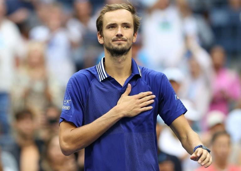 Russia's Daniil Medvedev acknowledges fans after beating Canadian Felix Auger-Aliassime to reach the US Open men's singles final (AFP/ELSA)