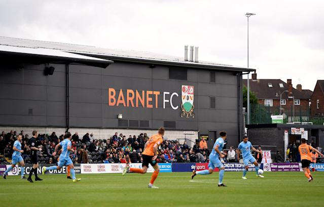 "Soccer Football - League Two - Barnet vs Coventry City - The Hive, London, Britain - October 7, 2017 A general view of the stadium during the match Action Images/Adam Holt EDITORIAL USE ONLY. No use with unauthorized audio, video, data, fixture lists, club/league logos or ""live"" services. Online in-match use limited to 75 images, no video emulation. No use in betting, games or single club/league/player publications. Please contact your account representative for further details."