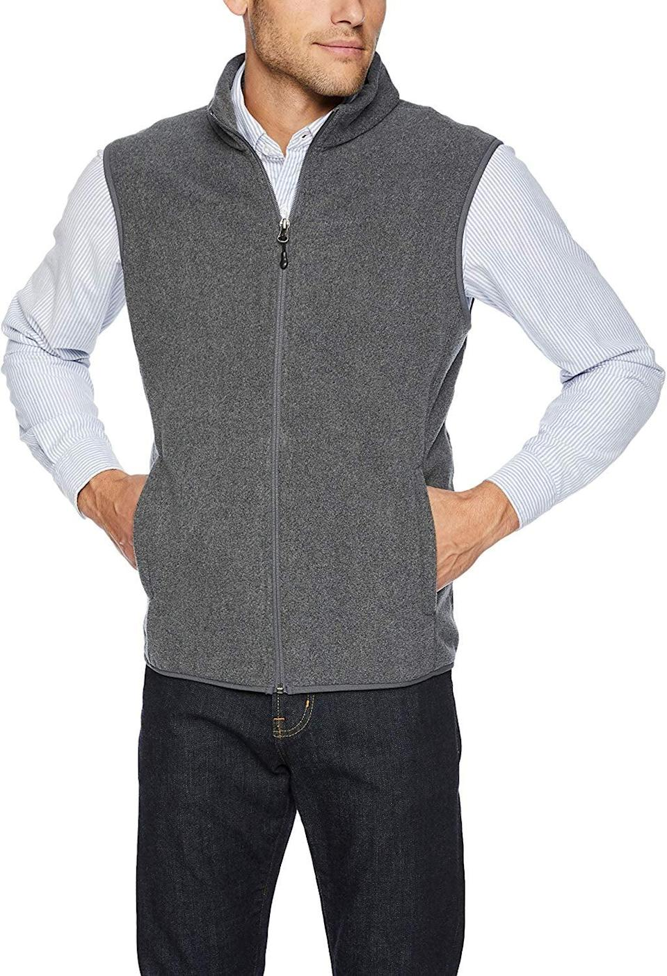 <p>This <span>Amazon Essentials Men's Full-Zip Polar Fleece Vest</span> ($20) comes in several colors.</p>