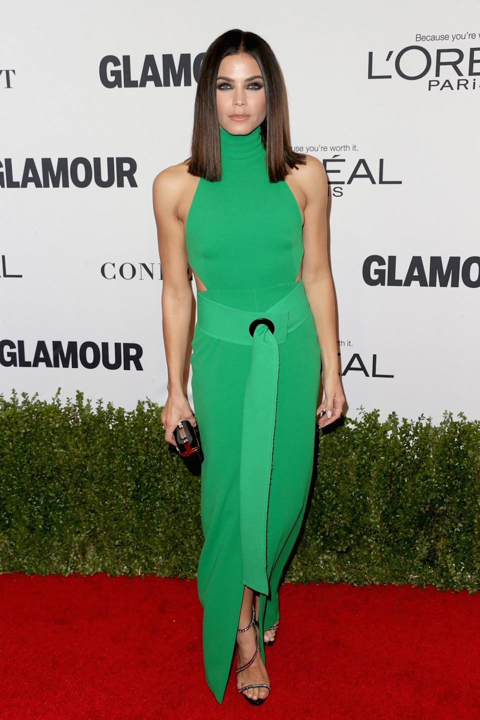 <p>Jenna left us green with envy in this jaw-dropping knitted gown featuring a high neck and a figure-hugging fit. <i>[Photo: Getty]</i> </p>