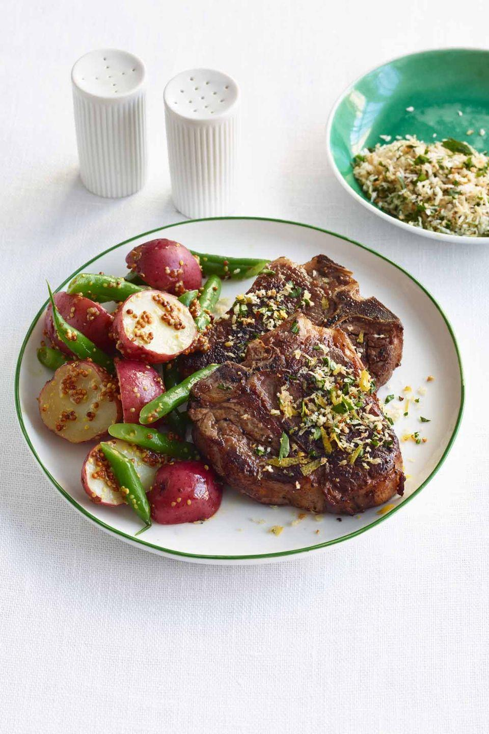"""<p>Surprise Mom with a creative take on an old-school steak and potatoes dinner: Lamb fills in for the beef, while whole-grain mustard adds a big boost of flavor. </p><p><a href=""""https://www.womansday.com/food-recipes/food-drinks/recipes/a12531/seared-lamb-mustard-potatoes-green-beans-recipe-wdy0514/"""" rel=""""nofollow noopener"""" target=""""_blank"""" data-ylk=""""slk:Get the recipe for Seared Lamb with Mustard Potatoes and Green Beans."""" class=""""link rapid-noclick-resp""""><em>Get the recipe for Seared Lamb with Mustard Potatoes and Green Beans.</em></a> </p>"""