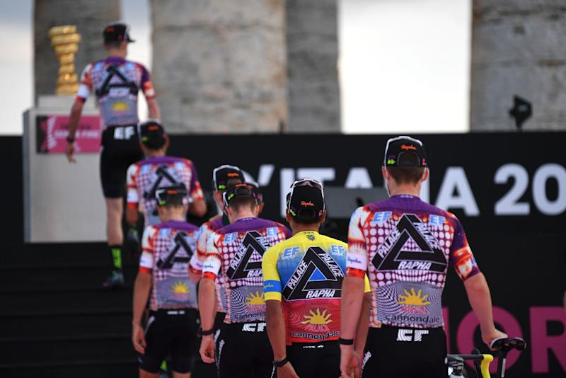 PALERMO ITALY OCTOBER 01 Sean Bennett of The United States and Team EF Pro Cycling Trofeo Senza Fine Trophy EF Pro Cycling special Rapha x Palace Skateboards during the 103rd Giro dItalia 2020 Team Presentation in Archaeological Park of Segesta in Palermo City Temple of Segesta girodiitalia Giro on October 01 2020 in Palermo Italy Photo by Tim de WaeleGetty Images