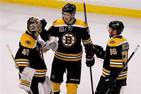 Apr 20, 2014; Boston, MA, USA; Boston Bruins defenseman Dougie Hamilton (27) and defenseman Kevan Miller (86) congratulates Boston Bruins goalie Tuukka Rask (40) after defeating the Detroit Red Wings 4-1 in game two of the first round of the 2014 Stanley Cup Playoffs at TD Banknorth Garden. Greg M. Cooper-USA TODAY Sports