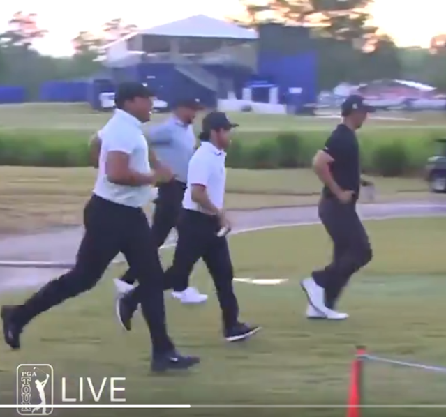 "This video of PGA Tour stars running doesn't help the ""golfers are athletes"" argument"