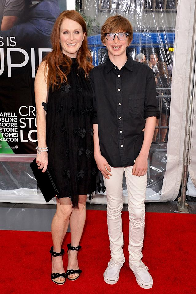 "<a href=""http://movies.yahoo.com/movie/contributor/1800020233"">Julianne Moore</a> and son at the New York City premiere of <a href=""http://movies.yahoo.com/movie/1810157025/info"">Crazy, Stupid, Love</a> on July 19, 2011."