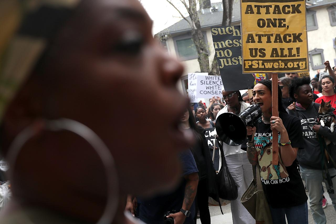 <p>Black Lives Matter protesters stage a demonstration in front of the offices of Sacramento district attorney Anne Marie Schubert on April 4, 2018 in Sacramento, Calif. (Photo: Justin Sullivan/Getty Images) </p>